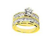 Genuine 3.50Ct Round Princess Diamond Engagement Ring Set Solid 18k Gold G SI1