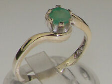 Solid 9ct White Gold Natural Emerald Contemporary Style Solitaire Swirl Ring