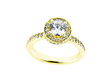 1.10Ct Round Cut Diamond Halo Bridal Engagement Ring Solid 14k Gold GH SI1