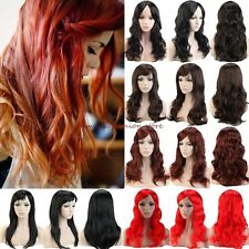 UK Thick Wigs Hair Long Curly Straight Cosplay Costume Halloween Fancy Dress Red