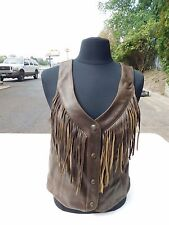 Genuine Indian Womens Indian Motorcycle  Brown  Fringe Leather Vest