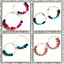 Handmade 50mm Hoop Earrings Acrylic Wood Beads Blue Pink Teal Black Purple Red
