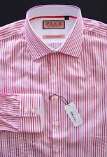 Thomas Pink Nwt The Twin Collection White Pink Vanguard Stripe Dress Shirt