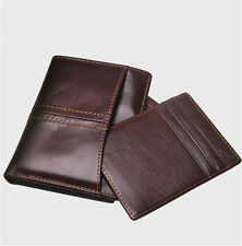 Genuine Leather Business Casual Card Photo Purse Short Wallet Men Dark Brown New