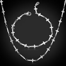Titanium Stainless Steel Necklace Bracelet Set Fashion Cross Chain Girls Jewelry
