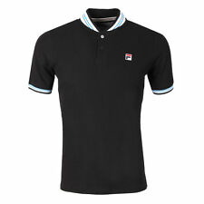 FILA Vintage Skipper FW16VGM009 Mens Black Baseball Collar Polo Shirt