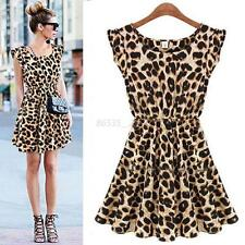 Women Casual Sleeveless Sexy Leopard Dress Coctail Party Evenning Mini Dress New