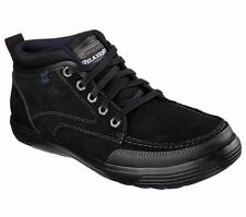 64741 Black Skechers Shoe Mid moc toe oxford Sneaker Men Memory Foam Comfort New