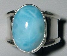 Larimar Cabochon Sterling Silver Handcrafted Ring