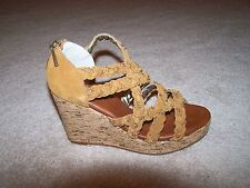 Matt Bernson Suede Leather Chain Braided Wedge Heel Sandal Cognac New