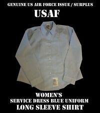 US AIR FORCE USAF SHIRT WOMENS LONG SLEEVE UNIFORM SERVICE DRESS BLUE s m l xl