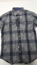 Tommy Hilfiger Custom Fit Plaid Knit Dress Casual Shirt Mens Sizes Grey Blue