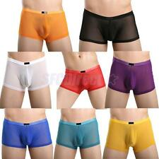 Men Boxer Briefs Underwear Trunk Short Bulge Pouch Mesh Underpants Multicolor