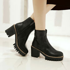 Trendy Womens ankle boots Chunky Heel Round toe Warm lined Winter shoes Big size