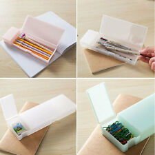 L Size Multi-function Matte Translucent Plastic Pencil Case Office School Supply
