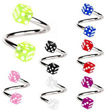 Pretty Round Diamond S Spiral Helix Ear Stud Lip Nose Ring Cartilage Piercing BB