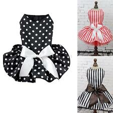 Puppy Pet Dog Princess Dress Polka Dot Bowknot Stripe Dress Pet Clothes
