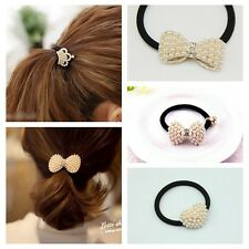 Fashion Lovely Imitation Pearl Hair Band Clip Bow Bowknot Elastic Accessories