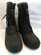 "NEW Mens Winter Waterproof Nylon 9"" Black Insulated Hiking Thermolit Snow Boots"