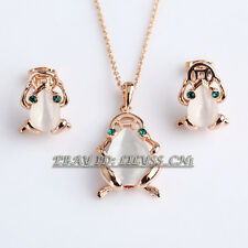 Fashion Simulated Opal Fortune Frog Earrings Necklace Jewelry Set 18KGP Crystal