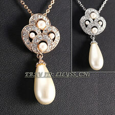 Fashion White Pearl Pendant Necklace 18KGP Crystal Rhinestone