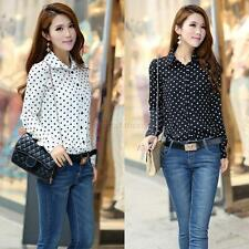 Women Polka Dot Chiffon Shirts Long Sleeve V Neck Casual Button Blouse Tops
