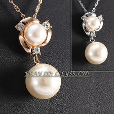 A1-P282 Fashion White Pearl Necklace Pendant 18KGP Crystal Rhinestone