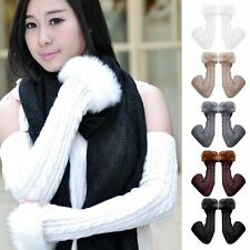 New Ladies Women Long Fingerless Knitted Gloves Winter Arm Wrist Warmer Mitten