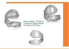 Oxidized Floral, Oxidized Or High Polished .925 Sterling Silver Spoon Rings.
