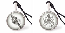 Zentangle stylized black see fish Necklace Pendants Pewter Silver Jewelry