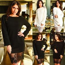 Winter Womens Fashion Long Sleeve Lace Loose Cocktail Party Jumper Sweater Dress