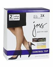 2 Pairs Just My Size Smooth Finish Control Top Pantyhose Reinforced Toes 3XL-4XL