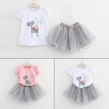 Toddler Kids Baby Girls Outfits Clothes T-shirt Tops+Tutu Dress Skirt 2PCS Sets