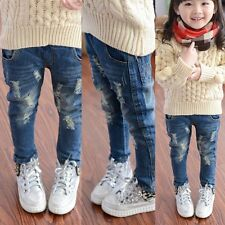 Cool Toddler Kids Boy Girls Child Ripped Denim Jeans Pants Trousers Clothes 2-7Y