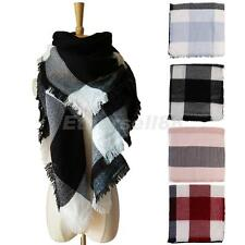 Warm Winter Cashmere Tassels Plaid Scarf Scarves Wool Shawl Pashmina for Women