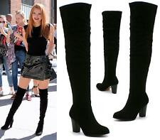 WOMENS BLACK MID HEEL SEXY SOFT SUEDE OVER THE KNEE HIGH THIGH STRETCH BOOTS SIZ