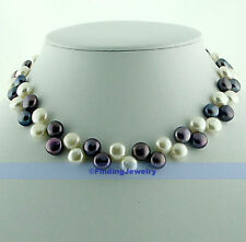 """16"""" 8mm Freshwater White & Black Button Pearl Necklace   FJUS"""