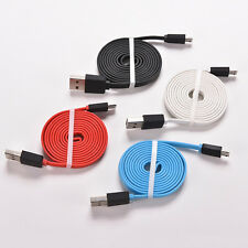 3/6/10Ft Flat Noodle Micro USB Charger Sync Data Cable Cord fr Android Phone Q