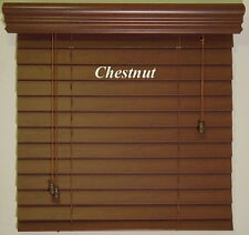 """2""""  Faux Wood  Blinds ~ Size ~ 16"""" W x 48"""" L ~ Stain Colors ~ Real Grain Look"""