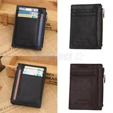 Genuine Leather Slim Mini Front Pocket Wallet Zipper Mens Gift Coin Wallet Case