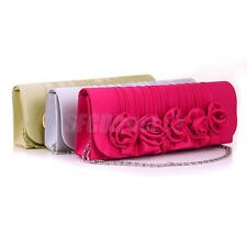 Womens Floral Satin Clutch Wedding Bridal Evening Party Prom Shoulder Bag Purse