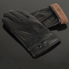 Luxury Mens Gloves Winter Warm Full Finger PU Leather Driving Gloves Gift New