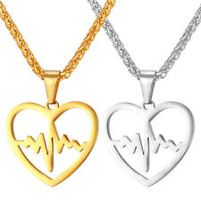 Heart Shaped Pendant 18K Gold Plated Heartbeat Necklace Stainless Steel Jewelry