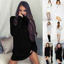 Winter Autumn Sexy Women Long Sleeve BodyCon Slim Knit Party Sweater Mini Dress