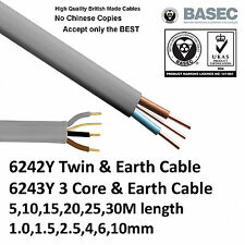 Twin and Earth 6242Y, 3 Core & Earth 6243Y Cable Domestic Pre Cut Length & Sizes