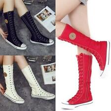Flat Tall Punk Canvas Boots Sneaker Women Girl's Shoes Knee High Lace UP Boots J