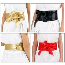 New Stylish PU Leather Womens Wrap Around Tie Corset Cinch Wide Waist Belt Band
