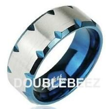 Men's New Stainless Steel Blue Notch Edged Band Ring - Sizes 9-13