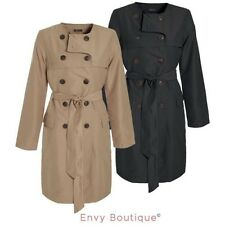 Ladies Womens Microfibre Double Breasted Trench Mac Jacket Tie Belted Coat