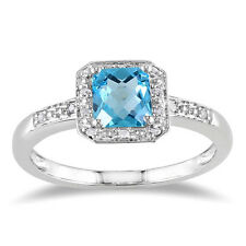 Natural Swiss Blue Topaz Cushion cut Ring in 0.925 Sterling Silver platinum over